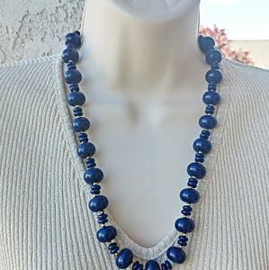 Navy Blue Gold Tone Beaded Necklace